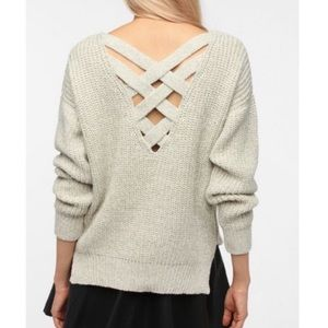 Sparkle & fade grey knit sweater cross back size L